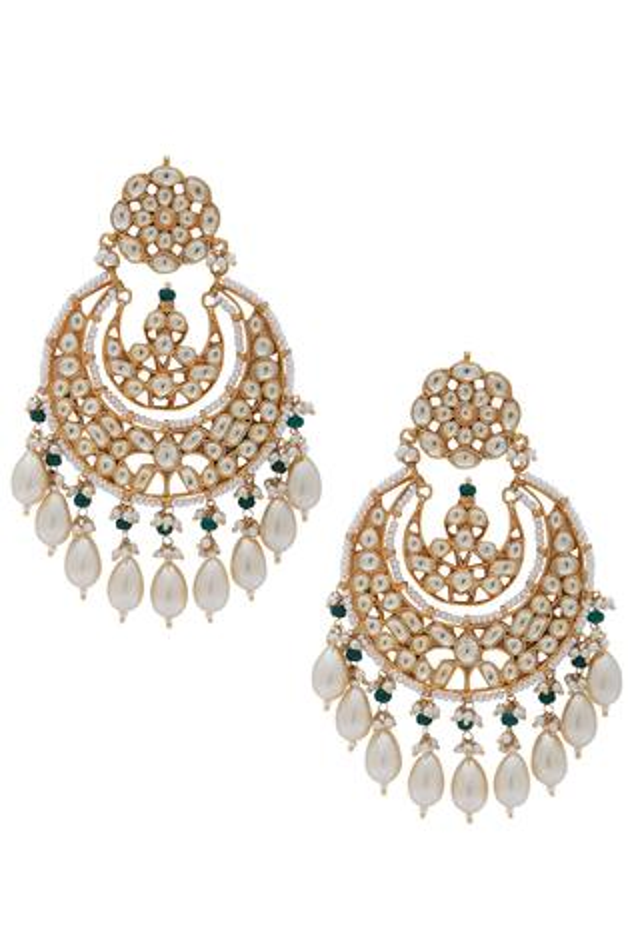 Kundan oval bead chandbalis earrings
