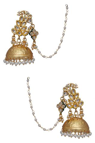 Kundan Leaf Dangling Jhumka Earrings