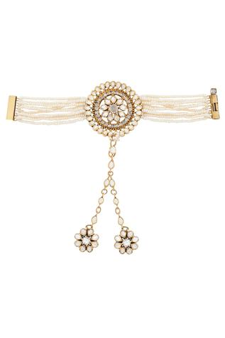 Indian Architecture Inspired Floral Hathphool With Pearls