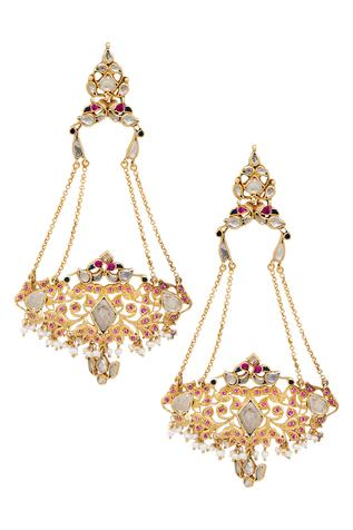 White crystal handcrafted long earring