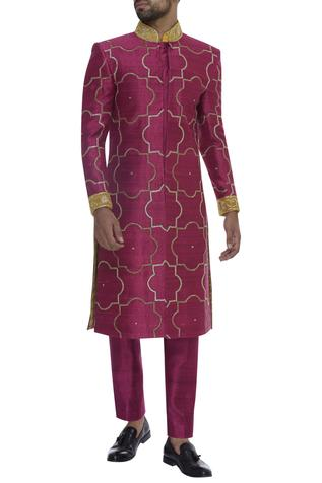 Sequin embroidered sherwani with pants & short kurta