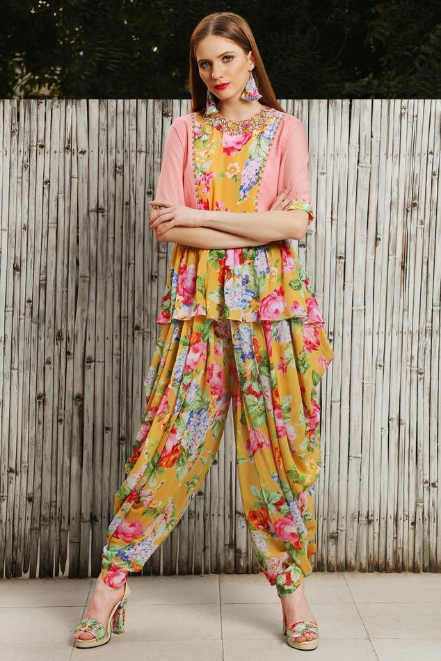 Printed Floral print Peplum top With Dhoti pants