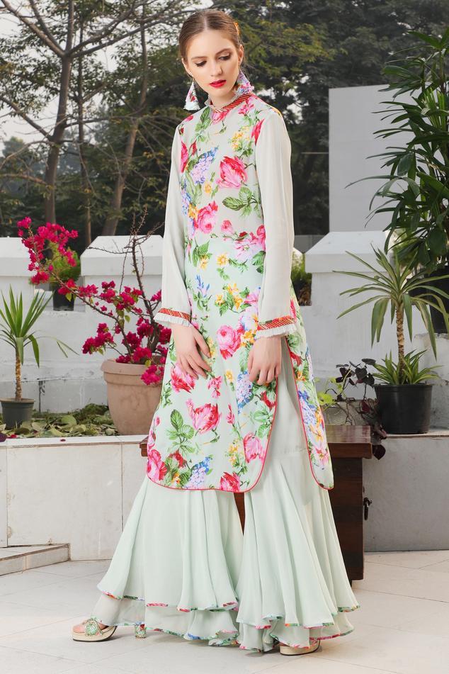 Rose Printed Tunic With Layered Sharara