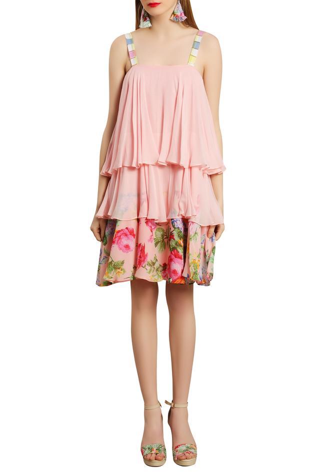 Rose Print layered Dress