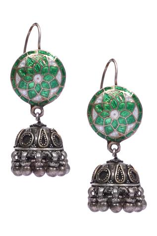 Meenakari jhumki hook earrings