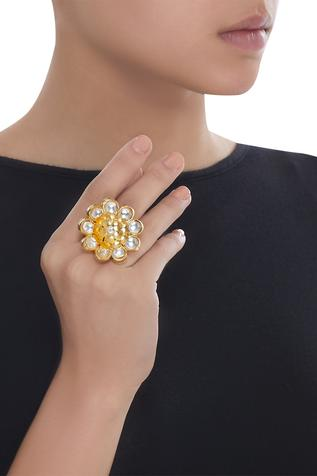 Floral stone studded ring