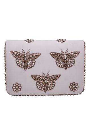 Butterfly motif embroidered clutch cum sling