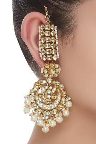 Kundan hair chain earrings