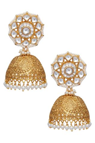 Circular head carved jhumkis
