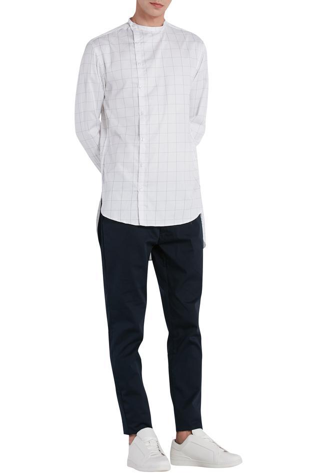 Check print high low shirt