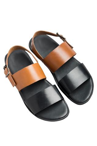 Dual hued flat black brown sandals