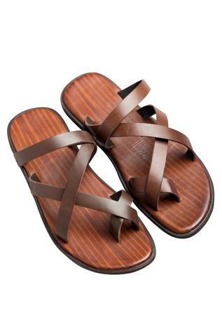 Flat criss-cross textured brown sandals