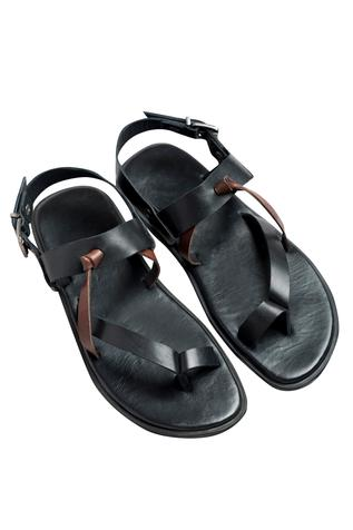 Silver buckle flat black sandals