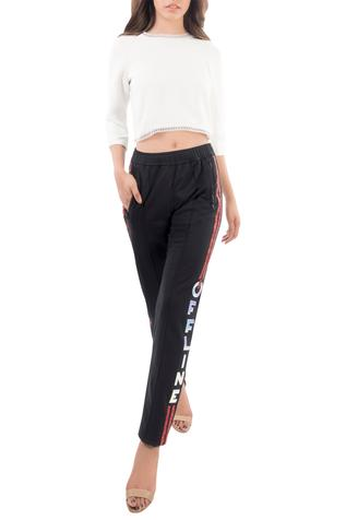 Embroidered Zippered Pockets Pant