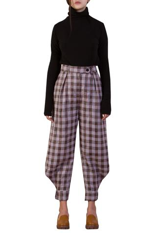 Checkered Ankle Cuff Pant