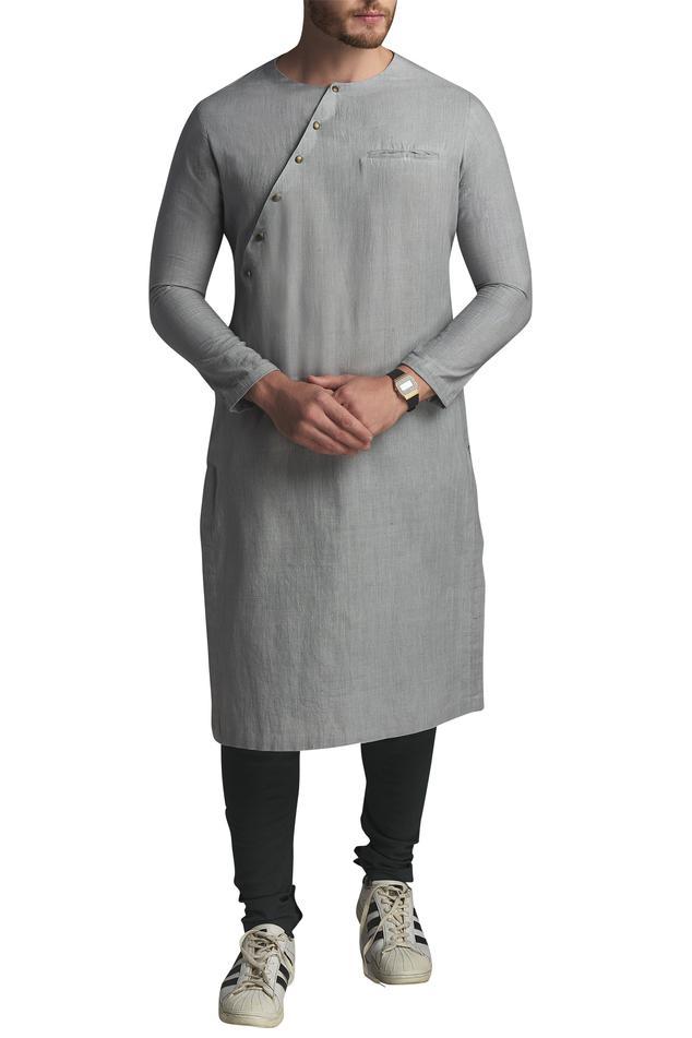 Cotton slant Placket Kurta With Pyjamas
