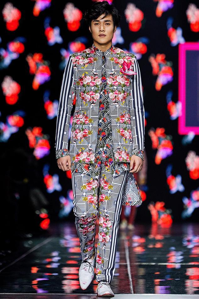 Rose & striped printed jacket