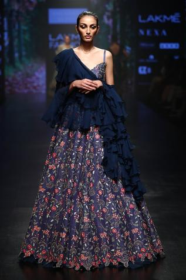 Anarkali Gown With Ruffle Dupatta