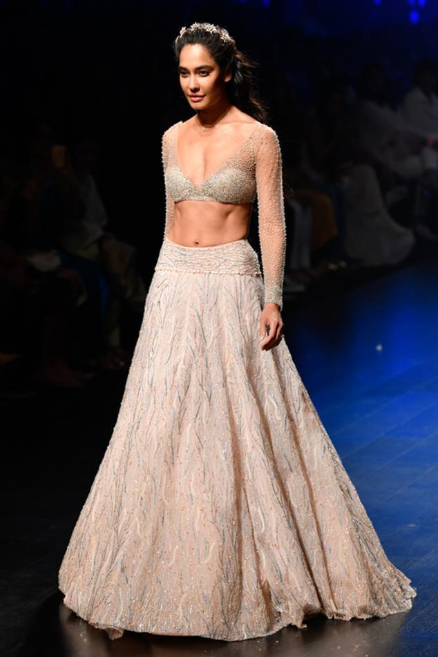 Embellished Crystal Lehenga With Blouse