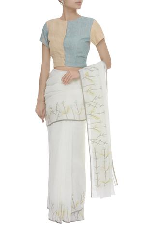 Color Block Linen Saree Blouse