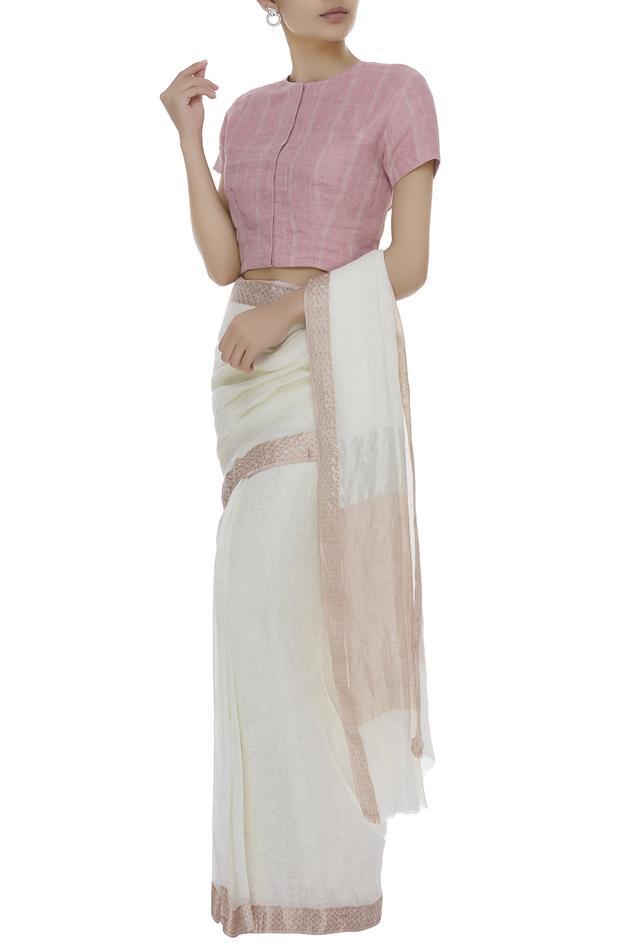 Striped Short Sleeve linen Blouse