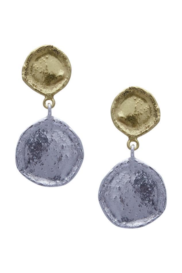 Dual tone coin earrings