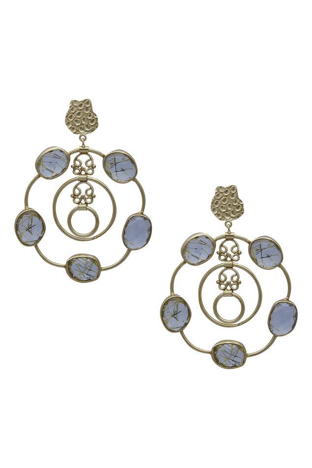 Stone studded loop earrings