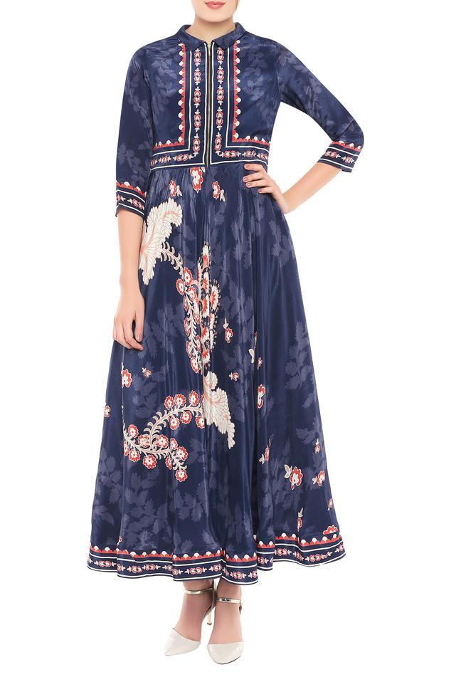 Printed flared zipper dress