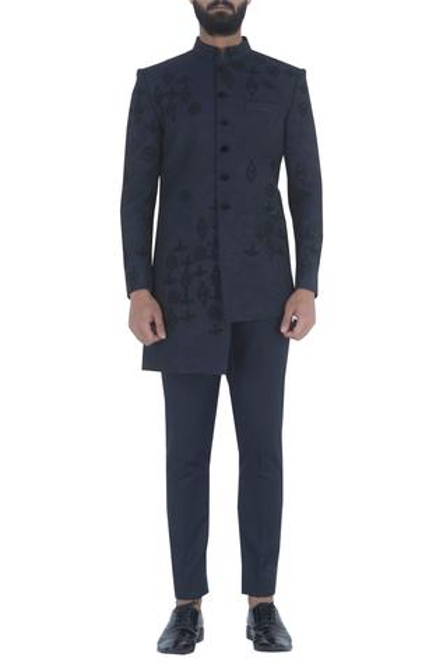 Asymmetric achkan with trouser