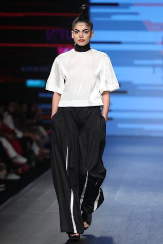 Shirt with flared panel pants