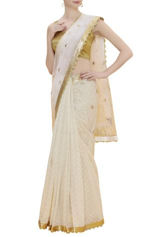 Chanderi brocade Saree With Unstitched Blouse fabric