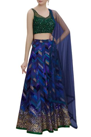 Embroidered Blouse With Maheshwari Lehenga Set