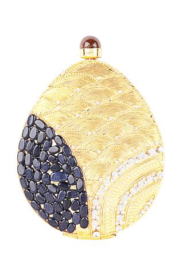 Oval Shaped Embellished Clutch