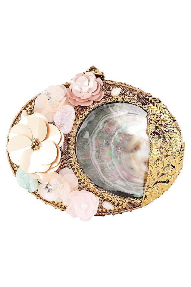 3D Flower Embellished Oval Clutch
