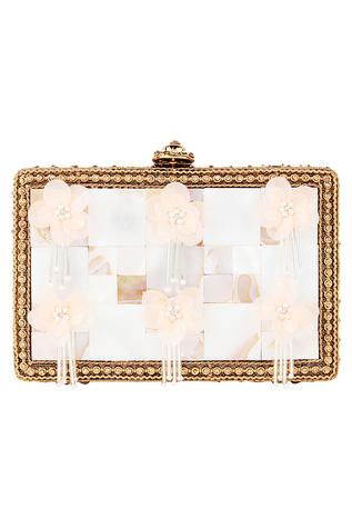 3D Flowers Embellished Clutch