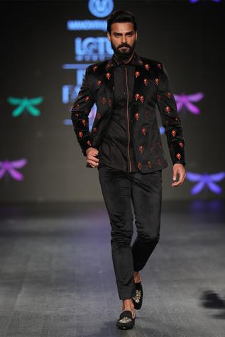 Embroidered jacket with shirt & pants