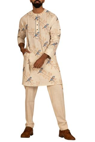 Bird Embroidered Kurta