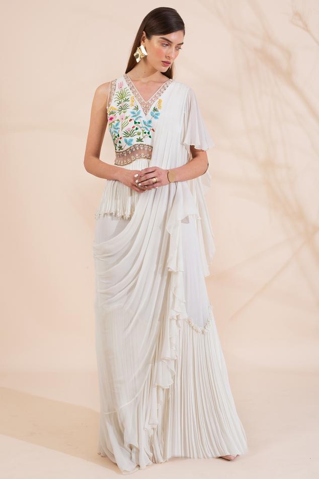 Pre-Draped Peplum Saree Gown