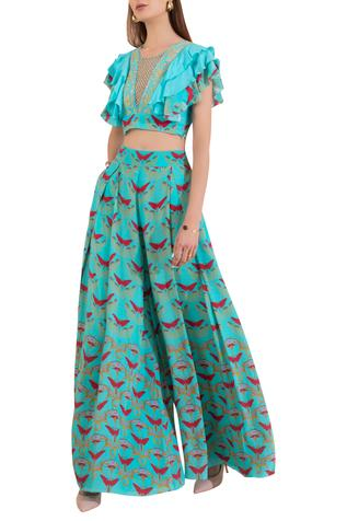 Ruffle top with printed pants