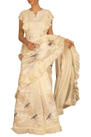 Embroidered ruffle saree with blouse