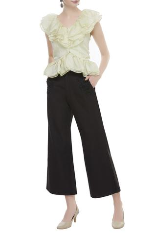 Hand embroidered trouser pants