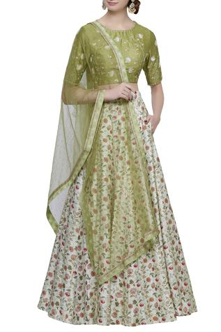 Embroidered & printed lehenga set