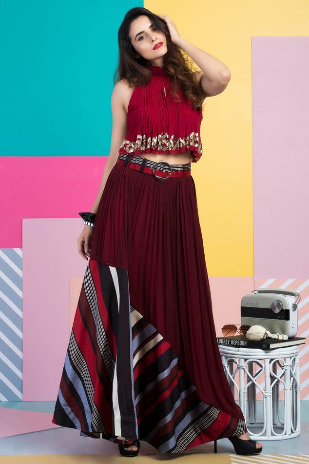 Chanderi Top Skirt Set