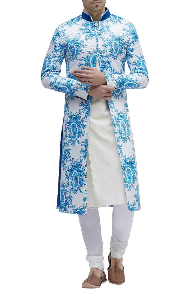 Printed Sherwani with Mandarin Collar