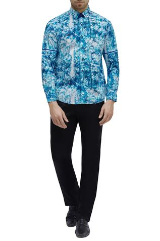 Printed cuff sleeves shirt