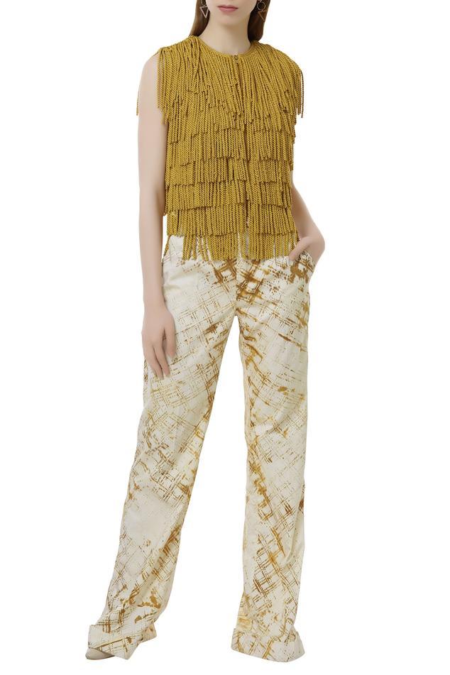 Fringed Top & shibori dye Pant Set