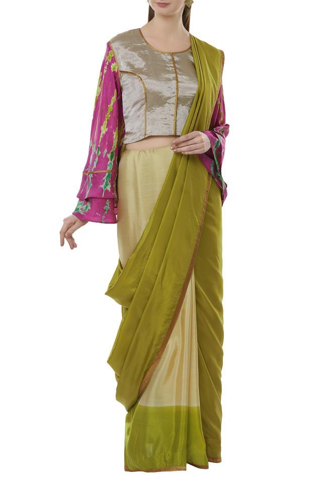 Silk saree & with batik blouse