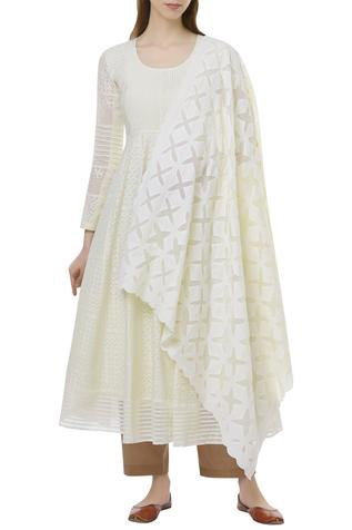 Chanderi Cotton Anarkali with dupatta