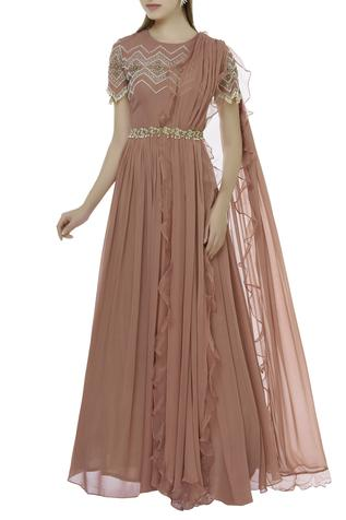 Embroidered Anarkali With Attached Dupatta & Belt