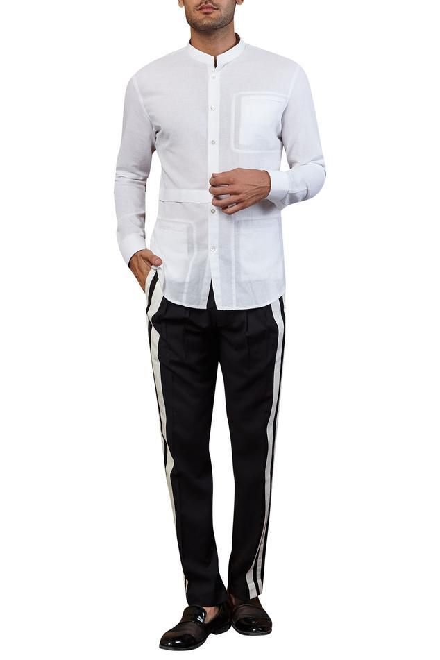 Cotton linen paneled shirt
